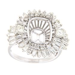 1.92 CTW Diamond Semi Mount Ring 14K White Gold - REF-196Y9X