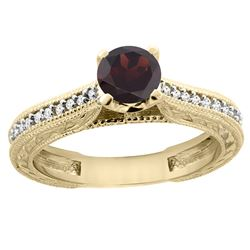 0.75 CTW Garnet & Diamond Ring 14K Yellow Gold - REF-53A2X
