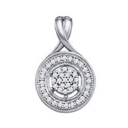 1/6 CTW Round Diamond Cluster Circle Pendant 10kt White Gold - REF-11H9W