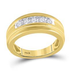 1/2 CTW Mens Round Diamond Wedding Channel Set Ring 14kt Yellow Gold - REF-81M3A
