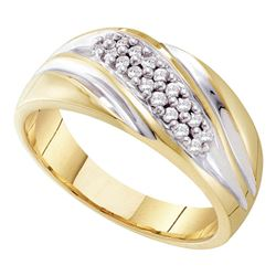 1/4 CTW Mens Round Pave-set Diamond Diagonal Double Row Wedding Ring 10kt Yellow Two-tone Gold - REF