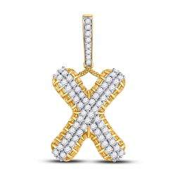 1 & 1/3 CTW Mens Round Diamond X Letter Charm Pendant 10kt Yellow Gold - REF-77Y9X