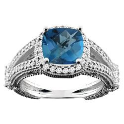 4.10 CTW London Blue Topaz & Diamond Ring 14K White Gold - REF-55K8W