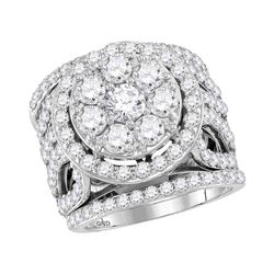4 CTW Round Diamond Halo Bridal Wedding Engagement Ring 14kt White Gold - REF-359F9M