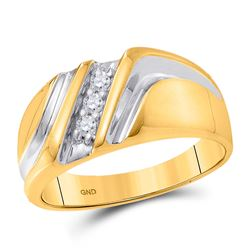 1/10 CTW Mens Round Diamond Wedding Single Row Ring 10kt Yellow Gold - REF-20R3H