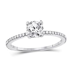 1 CTW Round Diamond Solitaire Bridal Wedding Engagement Ring 14kt White Gold - REF-251R9H