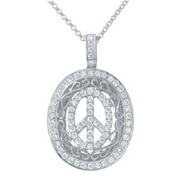 0.65 CTW Diamond Necklace 14K White Gold - REF-46F4N