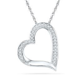 1/8 CTW Round Diamond Heart Outline Pendant 10kt White Gold - REF-8T4K