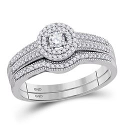 1/3 CTW Round Diamond Halo Bridal Wedding Engagement Ring 10kt White Gold - REF-35N9Y