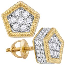 7/8 CTW Mens Round Diamond Polygon Fluted Cluster Stud Earrings 10kt Yellow Gold - REF-47Y9X