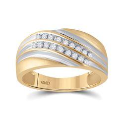 1/4 CTW Mens Round Diamond Wedding Ring 10kt Yellow Gold - REF-27K3R