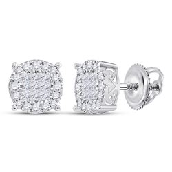 1/4 CTW Princess Diamond Fashion Cluster Earrings 14kt White Gold - REF-26Y9X