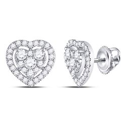 3/4 CTW Round Diamond Heart Cluster Earrings 10kt White Gold - REF-46N8Y
