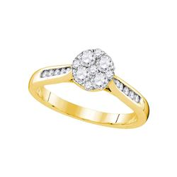 1/2 CTW Round Diamond Cluster Bridal Wedding Engagement Ring 14kt Yellow Gold - REF-54M3A
