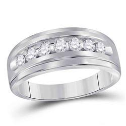 1/2 CTW Mens Round Diamond Wedding Single Row Ring 10kt White Gold - REF-39R6H