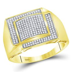 1/2 CTW Mens Round Diamond Square Cluster Ring 10kt Yellow Gold - REF-43N5Y