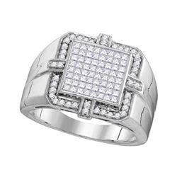 1 CTW Mens Princess Diamond Square Frame Cluster Ring 10kt White Gold - REF-81K5R