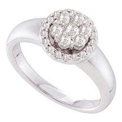 1/2 CTW Round Diamond Circle Frame Flower Cluster Ring 14kt White Gold - REF-60A3N
