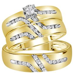1/4 CTW His & Hers Round Diamond Solitaire Matching Bridal Wedding Ring 14kt Yellow Gold - REF-45N6Y