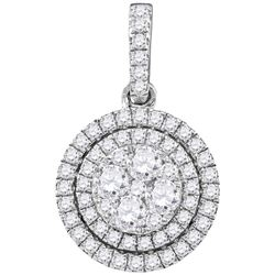 7/8 CTW Round Diamond Double Frame Flower Cluster Pendant 14kt White Gold - REF-71H9W