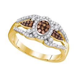 1/3 CTW Round Brown Diamond Cluster Ring 10kt Yellow Gold - REF-24T3K
