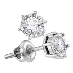 1/4 CTW Round Diamond Solitaire Screwback Stud Earrings 10kt White Gold - REF-24X3T
