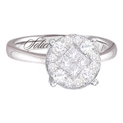 2 CTW Princess Round Diamond Cluster Bridal Wedding Engagement Ring 14kt White Gold - REF-234T3K