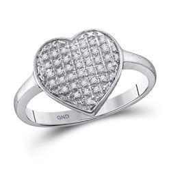 1/4 CTW Round Diamond Heart Cluster Ring 10kt White Gold - REF-19W2F
