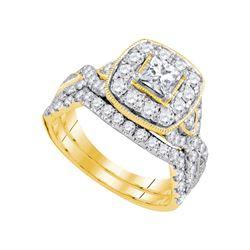 2 CTW Princess Diamond Bridal Wedding Engagement Ring 14kt Yellow Gold - REF-225A3N
