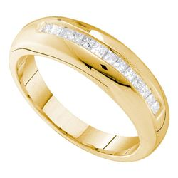 1/2 CTW Mens Princess Diamond Wedding Single Row Ring 14kt Yellow Gold - REF-60X3T
