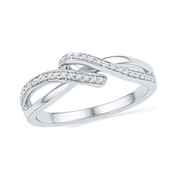 1/6 CTW Round Diamond Crossover Ring 10kt Two-tone Gold - REF-15M3A