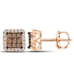 3/4 CTW Princess Red Color Enhanced Diamond Square Cluster Earrings 10kt Rose Gold - REF-35K9R