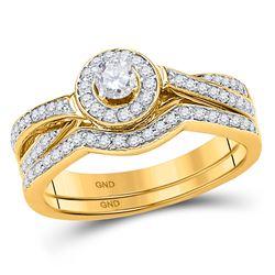 1/2 CTW Round Diamond Bridal Wedding Engagement Ring 10kt Yellow Gold - REF-45K5R