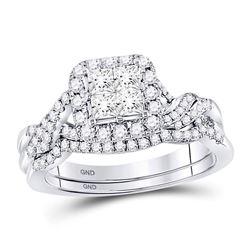 1 CTW Princess Diamond Twist Bridal Wedding Engagement Ring 14kt White Gold - REF-87A3N