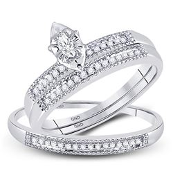 1/5 CTW His & Hers Marquise Diamond Solitaire Matching Bridal Wedding Ring 10kt White Gold - REF-24H