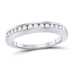 1/4 CTW Round Diamond Wedding Channel Set Ring 14kt White Gold - REF-24X3T