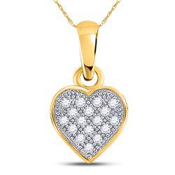 1/20 CTW Round Diamond Cluster Small Heart Pendant 10kt Yellow Gold - REF-4K2R