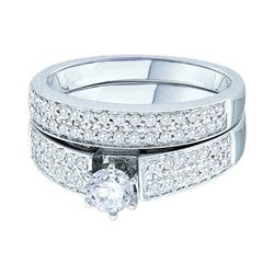 3/4 CTW Round Diamond Bridal Wedding Engagement Ring 14kt White Gold - REF-95Y9X