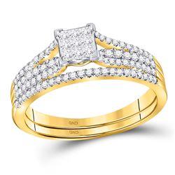 1/2 CTW Princess Diamond Bridal Wedding Engagement Ring 14kt Yellow Gold - REF-35N9Y