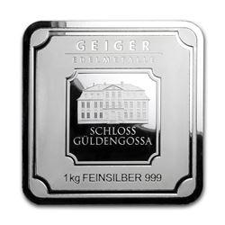 Genuine 1 kilo 0.999 Fine Silver Bar - Geiger Security Series