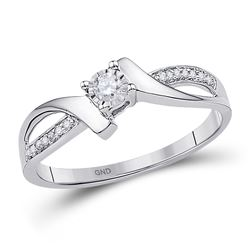 1/10 CTW Round Diamond Solitaire Promise Bridal Ring 10kt White Gold - REF-14H4W