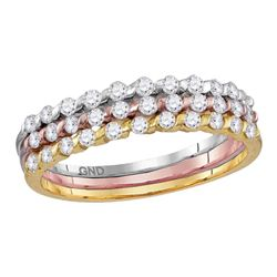 1/2 CTW Round Diamond 3-Piece Stackable Ring 10kt Tri-Tone Gold - REF-27M5A
