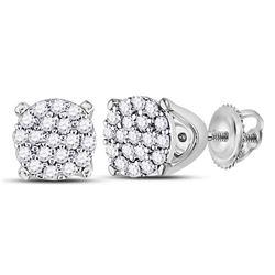 1/8 CTW Round Diamond Cluster Earrings 10kt White Gold - REF-10T8K