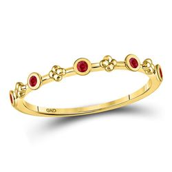 1/12 CTW Round Ruby Dot Flower Stackable Ring 10kt Yellow Gold - REF-7Y5X