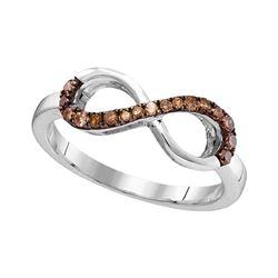 1/5 CTW Round Brown Diamond Infinity Ring 10kt White Gold - REF-14X4T