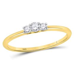 1/6 CTW Round Diamond 3-stone Promise Bridal Ring 10kt Yellow Gold - REF-16N8Y