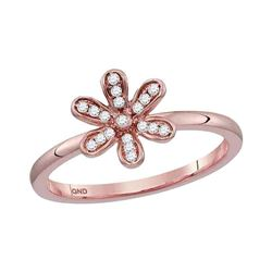 1/8 CTW Round Diamond Flower Floral Stackable Ring 10kt Rose Gold - REF-16H8W