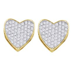 1/3 CTW Round Diamond Heart Cluster Earrings 10kt Yellow Gold - REF-24M3A