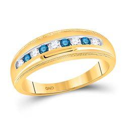 1/2 CTW Mens Round Blue Color Enhanced Diamond Wedding Ring 10kt Yellow Gold - REF-35M9A