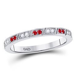 1/4 CTW Round Ruby Diamond Milgrain Stackable Ring 10kt White Gold - REF-18M3A